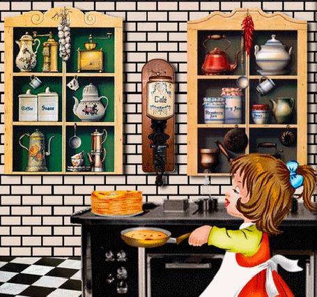 Анимация Девочка печет блины на кухне