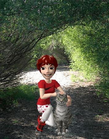 Анимация Девушка с рыжими волосами в красной футболке гладит серую кошку