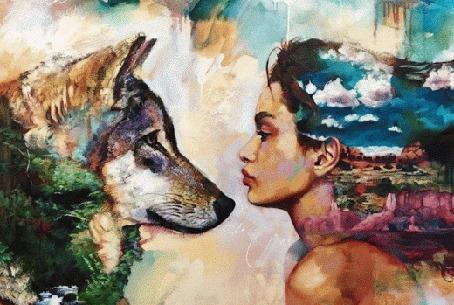 Анимация Девушка и волк смотрят друг другу в глаза, исходник работа художницы Dimitra Milan