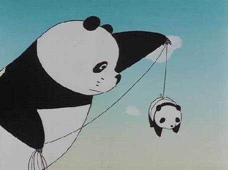 Анимация Маленькая панда берет мячик из воды и ее на веревке поднимает взрослая панда