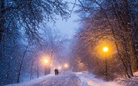 Анимация Пара идет по дороге, на которую ложится снег (© a_m_i_na), добавлено: 23.10.2016 12:53