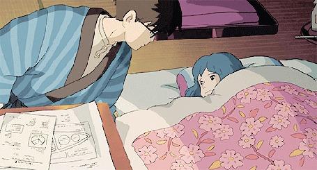 Анимация Парень целует девушку, аниме The Wind Rises / Ветер становится сильнее