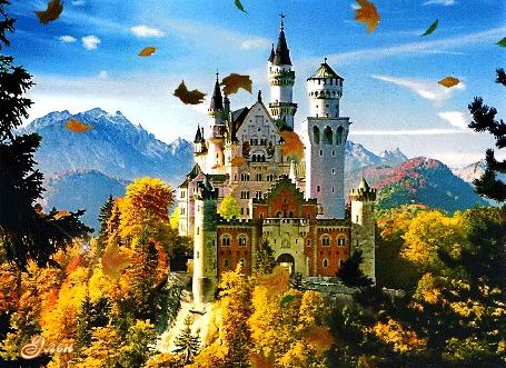 Анимация Красивый замок на холме, покрытом осенними деревьями на фоне гор и неба и летящих осенних листьев