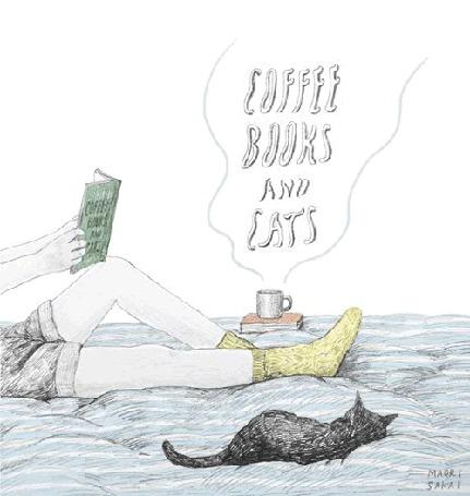 Анимация Парень с книгой лежит рядом с котом и чашкой с горячим кофе (coffee, books and cars / кофе, книги и автомобили)