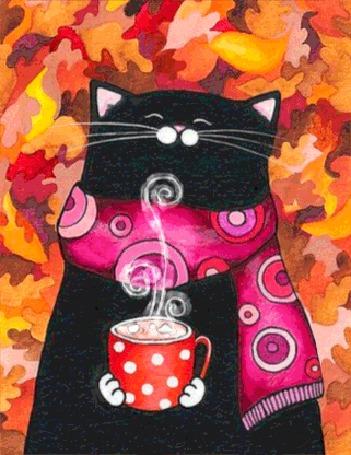 Анимация Черный кот с розовым шарфиком на шее держит в лапках горячий кофе