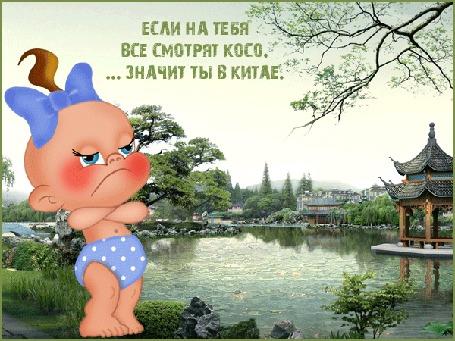 Анимация Пупсик на фоне китайского пейзажа (Если на тебя все косо смотрят. значит ты в Китае)