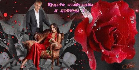 Анимация Красивая роза, мужчина стоит рядом с девушкой в кресле (Будьте счастливы и любимы!)