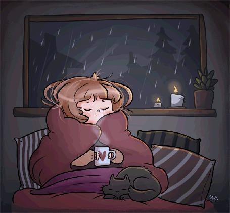Анимация Девушка с чашкой горячего чая и с котом сидит в кресле