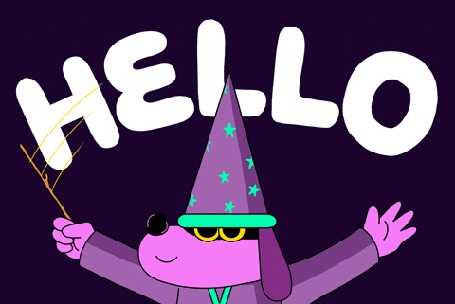 Анимация Собака в костюме мага машет лапами на фоне надписи hello / привет