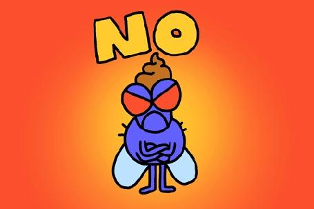Анимация Злая муха вертит головой и топает ножкой (NO / нет)