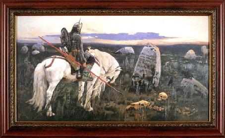 Анимация Богатырь на картине перелистывает копьем изображения на камне, как будто это экран монитора