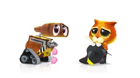 Анимация Робот Валли пристально рассматривает кота из другого мультфильма