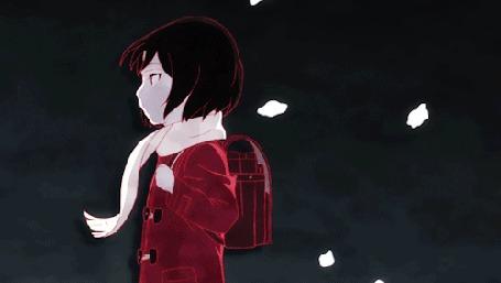 Анимация На голову Кае Хиназуки / Kayo Hinazuki из аниме Город, в котором меня нет / Boku dake ga Inai Machi набрасывается шарф и она превращается в птицу