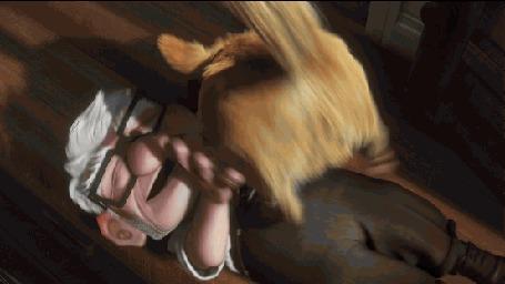 Анимация Собака Даг радостно облизывает Карла, мультфильм Вверх