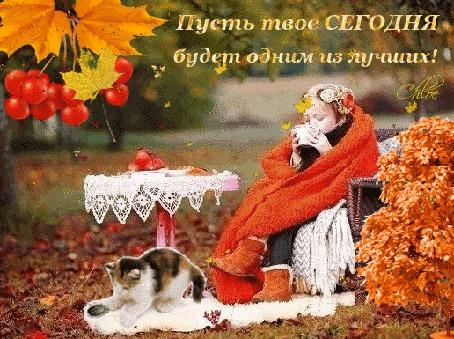 Анимация Пейзаж осенний, листопад, девочка в пледе пьет горячий чай, столик, кошка играется на коврике белом (Пусть твое СЕГОДНЯ будет одним из лучших!)