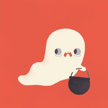Анимация Испуганное привидение с котелком для сладостей, праздник Halloween / Хэллоуин