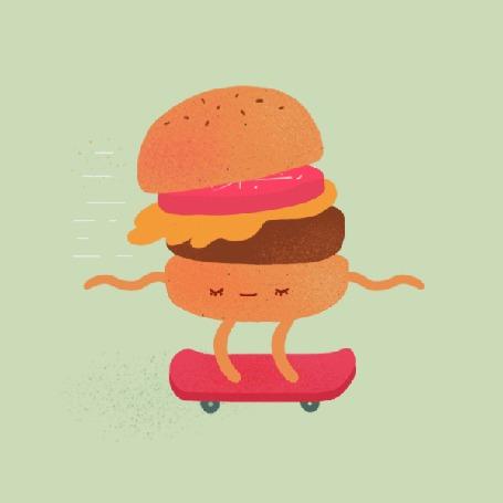 Анимация Гамбургер едет на скетборде