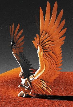 Анимация Девушка -ангел присела на одно колено среди пустыни