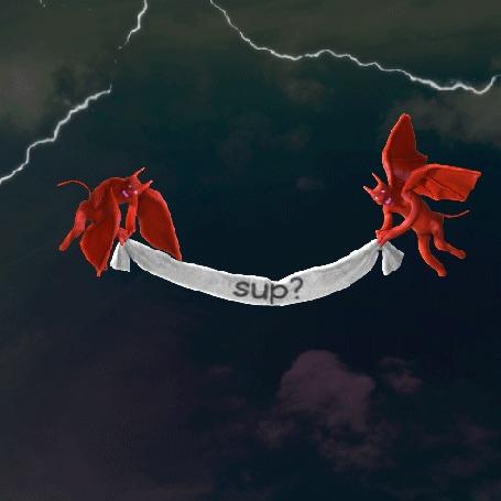 Анимация Демоны парят в небе на фоне молний, и держат плакат с надписью sup?