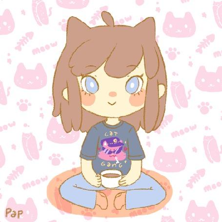 Анимация Девочка с кружкой чая в руках сидит на коврике (cat gang / кошачья банда), by Pap