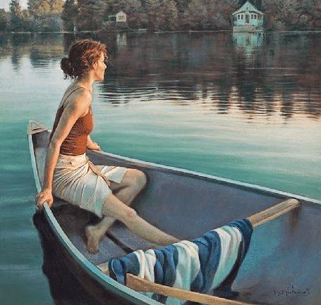 Анимация Девушка сидит в лодке и смотрит на озеро