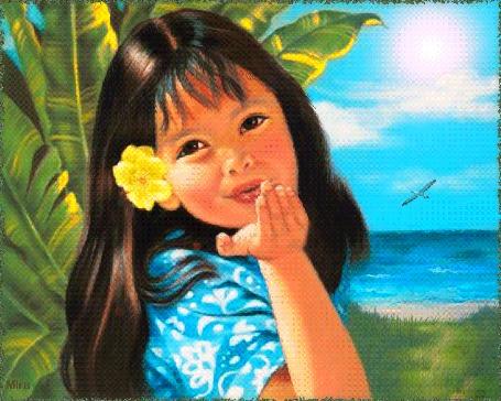 Анимация Девочка посылает сердечко на фоне неба и листьев