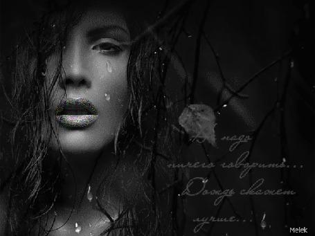 Анимация Портрет девушки рядом с осенней веткой, (Не надо ничего говорить, дождь скажет лучше), автор Melek