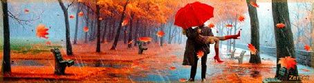 Анимация Парень держит девушку с красным зонтом на руках на фоне осеннего парка