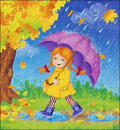 Анимация Девочка с зонтиком под дождем и листопадом