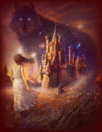 Анимация Девушка стоит на фоне замка с образом волка