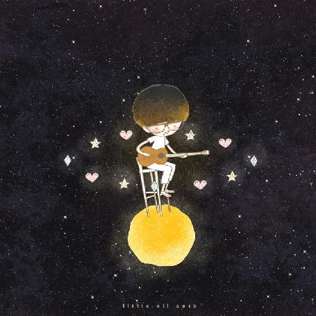 Анимация Мальчик сидит на стуле на маленьклй планете и играет на гитаре, by Littel Oil