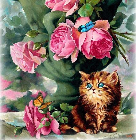 Анимация Котенок с голубыми глазами сидит у вазы с букетом роз, над которым летают бабочки, by Leila
