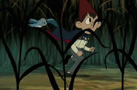 Анимация Бегущий мальчик и рядом летящая птица, мультсериал По ту сторону изгороди / Over the Garden Wall