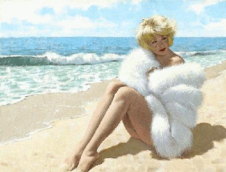 Анимация Блондинка в белой меховой шубке сидит на берегу моря