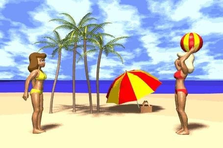 Анимация Девушки играют с мячом на берегу