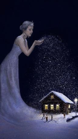 Анимация Снежная королева осыпает снегом домик в ночи