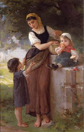 Анимация Женщина с детьми и корзиной яблок в осеннем саду
