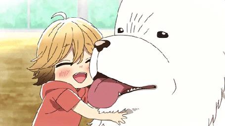 Анимация Поко / Poko и белая собака из аниме Мир удона Поко / Udon no Kuni no Kiniro Kemari
