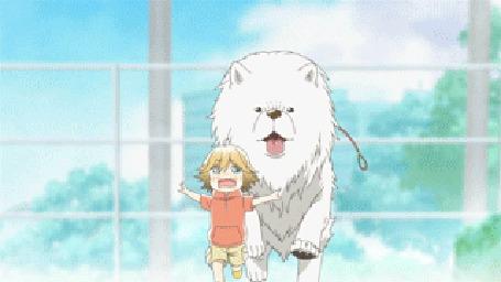Анимация Поко / Poko из аниме Мир удона Поко / Udon no Kuni no Kiniro Kemari, убегает от белой собаки
