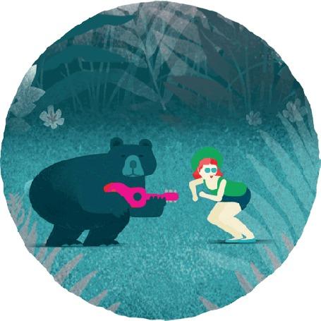 Анимация Танцующая девушка и медведь играющий на гитаре