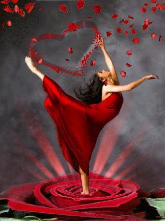 Анимация Девушка стоит в середине розы, вытянув вверх вторую ногу