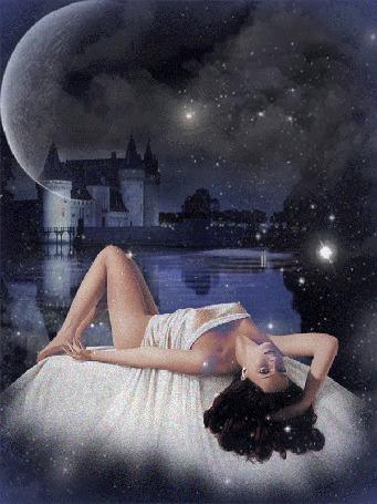 Анимация Девушка лежит у воды на фоне старинного замка, светит Луна мерцают звезды, автор Ирис