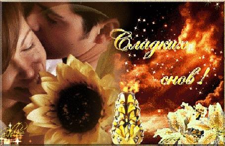 Анимация Ночное небо, двое, мужчина и женщина, подсолнух, свеча, цветы (Сладких снов!)