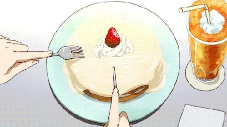 Анимация Циан Хиджирикава / Cyan Hijirikawa из аниме Рок-шоу! / Show By Rock, кушает тортик