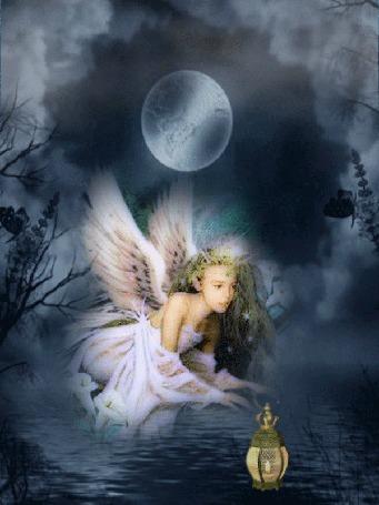 Анимация Девушка-ангел качает фонарик над водой на фоне луны и облаков