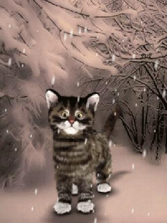 Анимация Котенок под падающим снегом