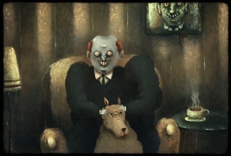Анимация Мужчина сидя в кресле, делает массаж головы волку, by Santimov