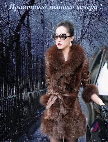 Анимация Девушка в очках и шубке стоит около автомобиля на фоне ограды парка, идет снег (Приятного зимнего вечера! ) автор Ирис