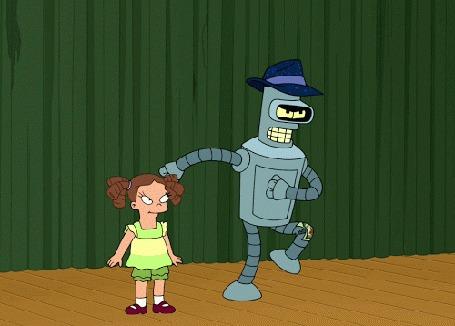 Анимация Робот Бендер / Bender отплясывает в шляпе, рядом с маленькой девочкой, мультсериал Futurama / Футурама