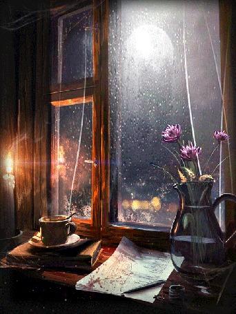 Анимация Чашка горячего чая у горящей свечи и цветы в вазе стоят на подоконнике окна, за которым идет дождь